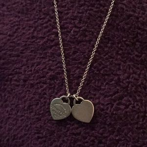 Mini Double heart return to Tiffany necklace
